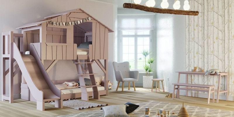 Lit cabane pour deux enfants